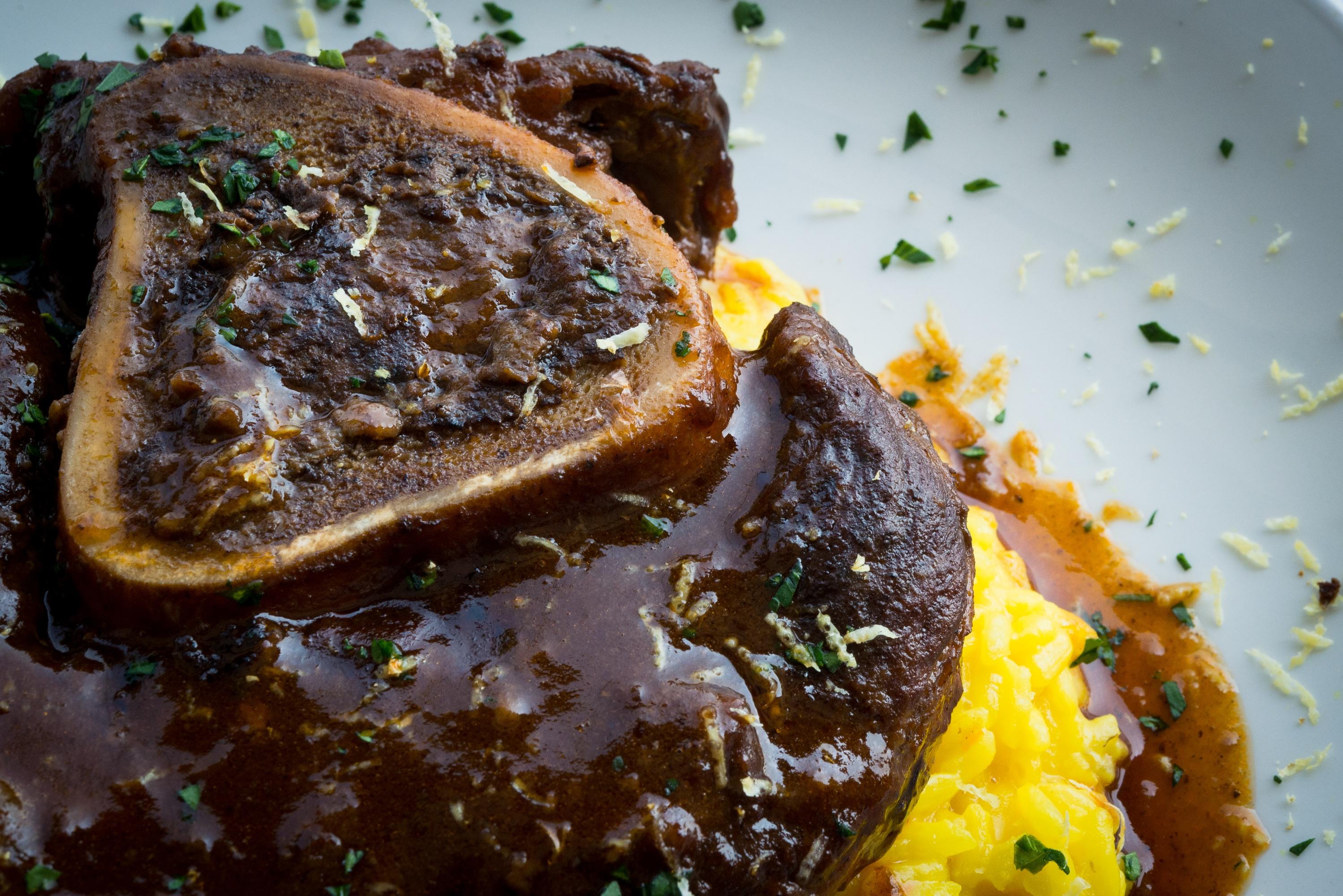Spasso - Ossobuco alla Milanese served with saffron risotto