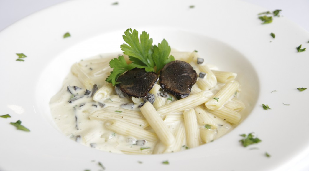 { @DiVino } A dish inspired by a guest named Jerome: Penne Jerome-style with Gorgonzola and black truffle sauce