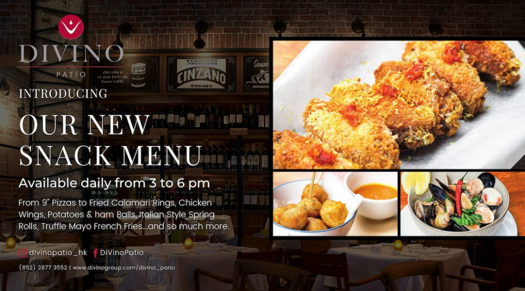 Our New Snack Menu at Divino Patio 1